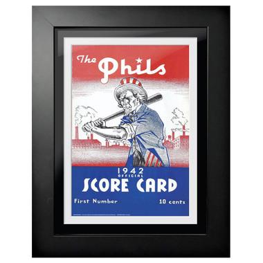 Philadelphia Phillies 1942 Scorecard Cover 18 x 14 Framed Print