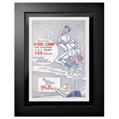 Philadelphia Phillies 1947 Scorecard Cover 18 x 14 Framed Print