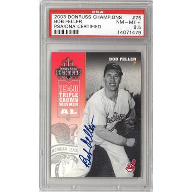 Bob Feller Autographed Card 2003 Donruss Champions # 75 (PSA)
