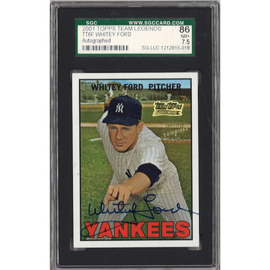 Whitey Ford Autographed Card 2001 Topps Team Legends (SGC 86) bgs