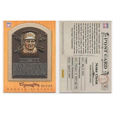 Nestor Chylak 2012 Panini Cooperstown Bronze History Baseball Card Ltd Ed of 599