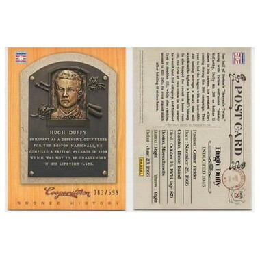 Hugh Duffy 2012 Panini Cooperstown Bronze History Baseball Card Ltd Ed of 599