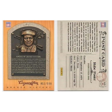 Rube Foster 2012 Panini Cooperstown Bronze History Baseball Card Ltd Ed of 599