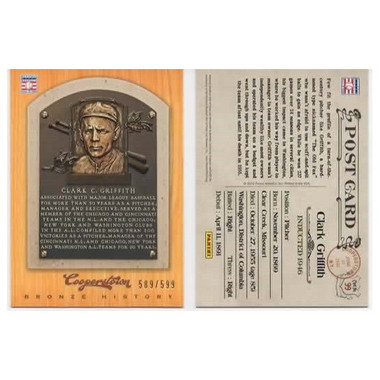 Clark Griffith 2012 Panini Cooperstown Bronze History Baseball Card Ltd Ed of 599