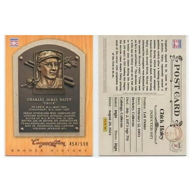 Chick Hafey 2012 Panini Cooperstown Bronze History Baseball Card Ltd Ed of 599