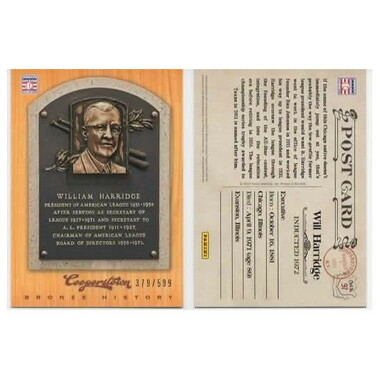 Will Harridge 2012 Panini Cooperstown Bronze History Baseball Card Ltd Ed of 599