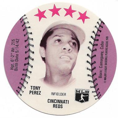 Tony Perez 1976 Isaly's Disc Baseball Card
