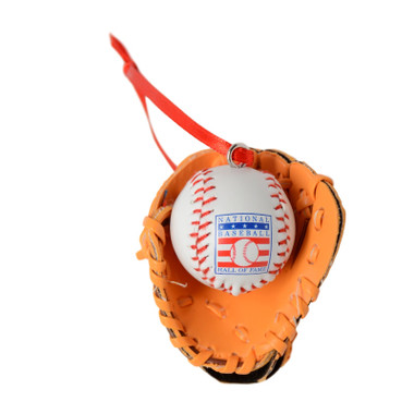 Baseball Hall of Fame Leather Ball and Glove Ornament