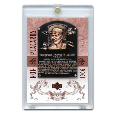 Ted Williams 2005 Upper Deck Hall of Fame Placards # 97 Ltd Ed of 550
