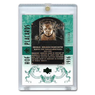 Babe Ruth 2005 Upper Deck Hall of Fame Placards Green # 86 Ltd Ed of 200