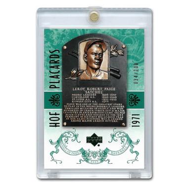 Satchel Paige 2005 Upper Deck Hall of Fame Placards Green # 95 Ltd Ed of 200