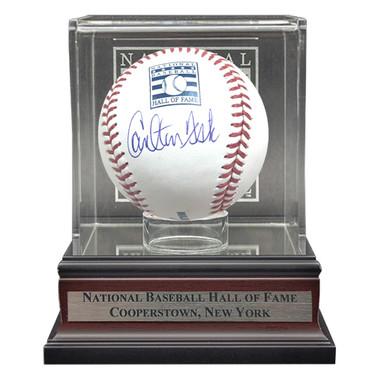 Carlton Fisk Autographed Hall of Fame Logo Baseball with HOF Case (JSA)