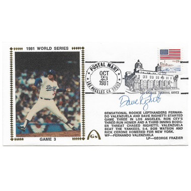Dave Righetti Autographed First Day Cover - 1981 World Series Game 3 (PSA)