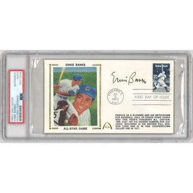 Ernie Banks Autographed First Day Cover - 1983 All-Star Game Captain (PSA-48)