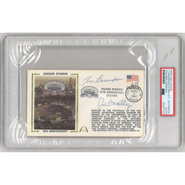 Tommy Lasorda and Pete O'Malley Autographed First Day Cover - 1987 Dodger Stadium 25th Anniversary (PSA-43)