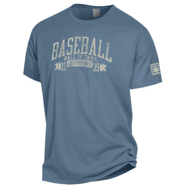 Men's Baseball Hall of Fame 1939 Cooperstown Saltwater Blue Vintage Dyed T-Shirt