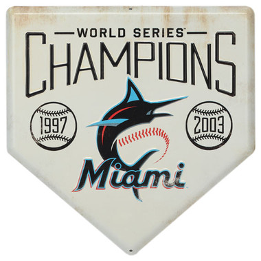 Miami Marlins World Series Champions Home Plate Metal Wall Art