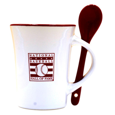 Baseball Hall of Fame White and Red Mug with Ceramic Spoon