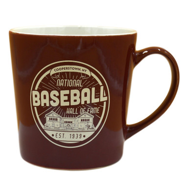 Baseball Hall of Fame Building Maroon Established 1939 Mug