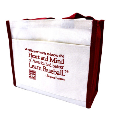 Baseball Hall of Fame Baseball Quote Red Trim Canvas Tote Bag