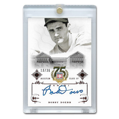Bobby Doerr Autographed Card 2014 Panini Cooperstown HOF 75th Anniversary Red # 75 Ltd Ed of 36