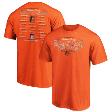 Men's Baltimore Orioles Orange Team Hall of Famer Roster T-Shirt
