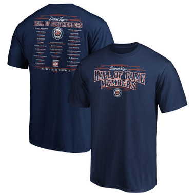 Men's Detroit Tigers Navy Team Hall of Famer Roster T-Shirt