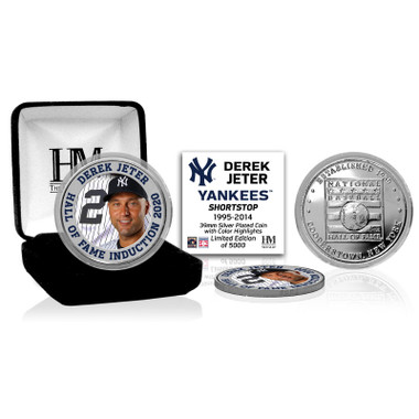 Highland Mint Derek Jeter New York Yankees Hall of Fame Silver Photo Coin