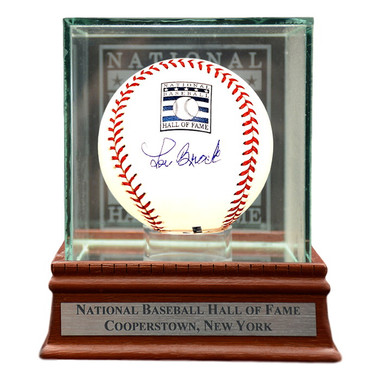 Lou Brock Autographed Hall of Fame Logo Baseball with Case (MLB/Fanatics)