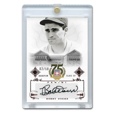 Bobby Doerr Autographed Card 2014 Panini Cooperstown HOF 75th Anniversary Red # 98 Ltd Ed of 50