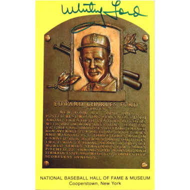 Whitey Ford Autographed Hall of Fame Plaque Postcard (JSA)