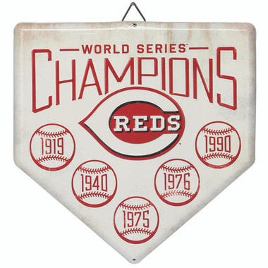Cincinnati Reds World Series Champions Home Plate Metal Wall Art