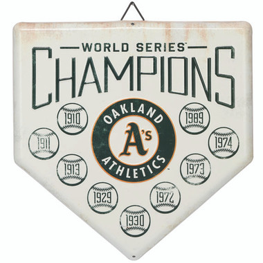 Oakland Athletics World Series Champions Home Plate Metal Wall Art