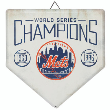 New York Mets World Series Champions Home Plate Metal Wall Art