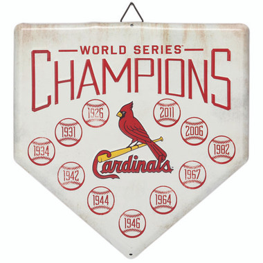 St. Louis Cardinals World Series Champions Home Plate Metal Wall Art