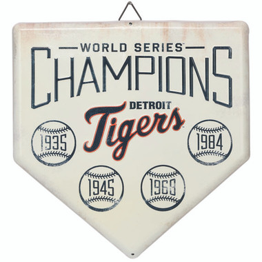Detroit Tigers World Series Champions Home Plate Metal Wall Art