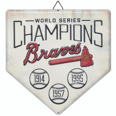 Atlanta Braves World Series Champions Home Plate Metal Wall Art