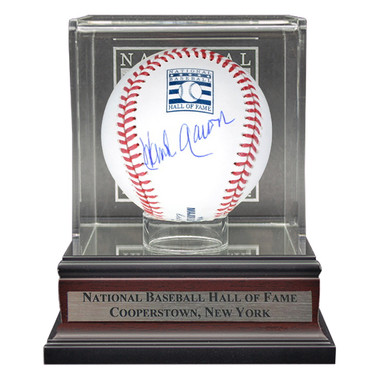 Hank Aaron Autographed Hall of Fame Logo Baseball with HOF Case (JSA)