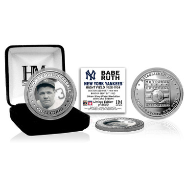 Highland Mint Babe Ruth New York Yankees Hall of Fame Silver Photo Coin