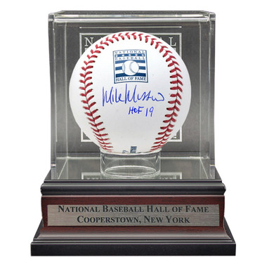 Mike Mussina Autographed Hall of Fame Logo Baseball with HOF 19 Inscription with HOF Case (HOF)