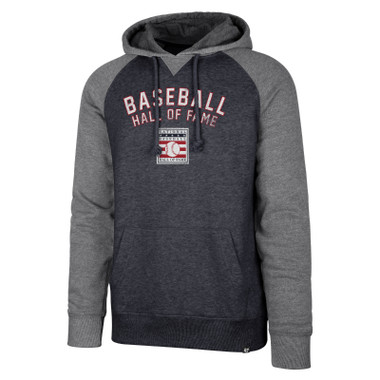 Men's 47 Brand Match Raglan Baseball Hall of Fame Heather Navy and Gray Hood