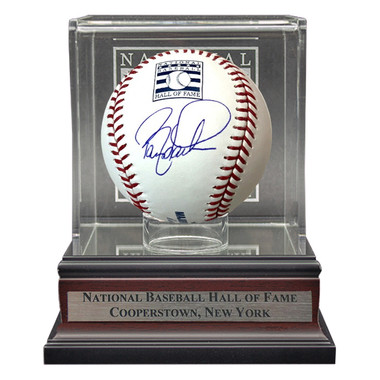 Barry Larkin Autographed Hall of Fame Logo Baseball with HOF Case (MAB)