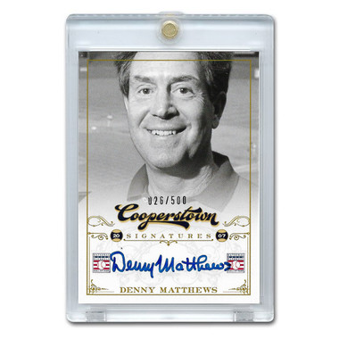 Denny Mathews Autographed Card 2012 Panini Cooperstown Ltd Ed 500
