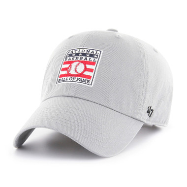 Men's '47 Brand Baseball Hall of Fame Official Logo Light Grey Clean Up Adjustable Cap