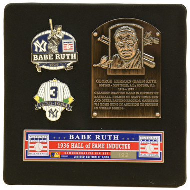 Babe Ruth Hall of Fame Exclusive 3 Piece Pin Set with Plaque Bust Ltd Ed of 1,936