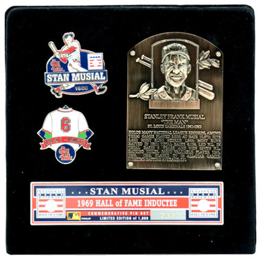 Stan Musial Hall of Fame Exclusive 3 Piece Pin Set with Plaque Bust Ltd Ed of 1,969