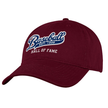 Men's Baseball Hall of Fame Maroon Est 1939 Script Adjustable Cap