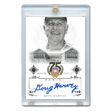 Doug Harvey Autographed Card 2014 Panini Cooperstown HOF 75th Anniversary # 19
