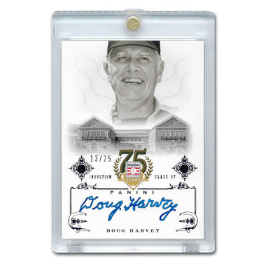 Doug Harvey Autographed Card 2014 Panini Cooperstown HOF 75th Anniversary Blue # 19 Ltd Ed of 25