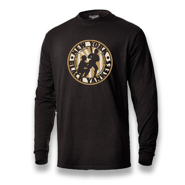 Men's Teambrown New York Black Yankees Long Sleeve Crew T-Shirt
